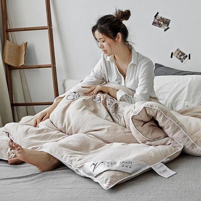 水洗棉绣花冬被 200X230cm 6.3斤 浅卡