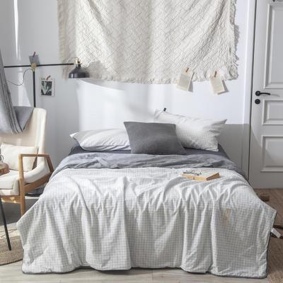 全棉色织夏被 150x200cm  2.3斤 白小格