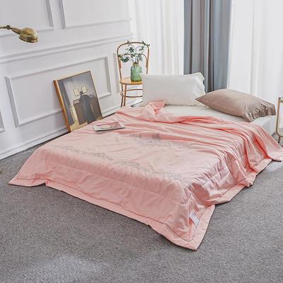 长绒棉绣花夏被 200X230cm  3.0斤 粉色