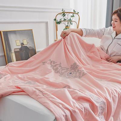 2020新款长绒棉绣花夏被 200X230cm 粉色