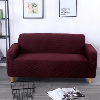 2020新款针织 提花沙发套 单人尺寸90-140cm 针织提花 酒红