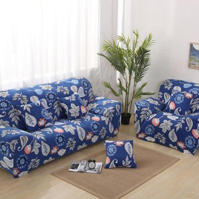 2020新款四季款印花沙发套 单人尺寸90-140cm 蓝色经典