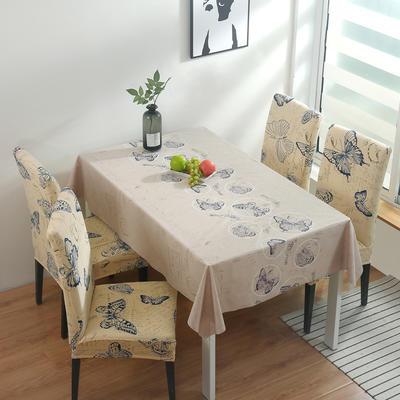2020新款PwC防水桌布+ 印花椅套 130*130cm防水桌布 彩蝶