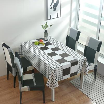 2020新款PwC防水桌布+ 印花椅套 130*130cm防水桌布 黑白配