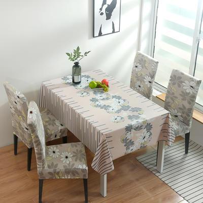 2020新款PwC防水桌布+ 印花椅套 130*130cm防水桌布 花意浓浓