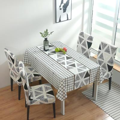 2020新款PwC防水桌布+ 印花椅套 130*130cm防水桌布 摩卡三角