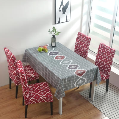 2020新款PwC防水桌布+ 印花椅套 130*130cm防水桌布 英伦 红
