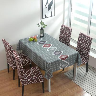 2020新款PwC防水桌布+ 印花椅套 130*130cm防水桌布 英伦 咖
