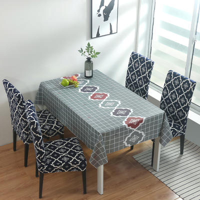 2020新款PwC防水桌布+ 印花椅套 130*130cm防水桌布 英伦 蓝