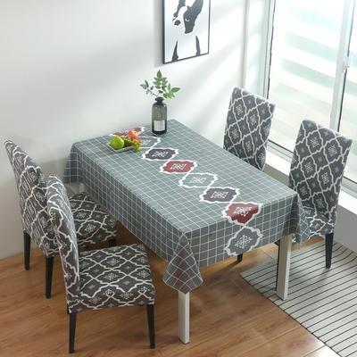 2020新款PwC防水桌布+ 印花椅套 130*130cm防水桌布 英伦灰