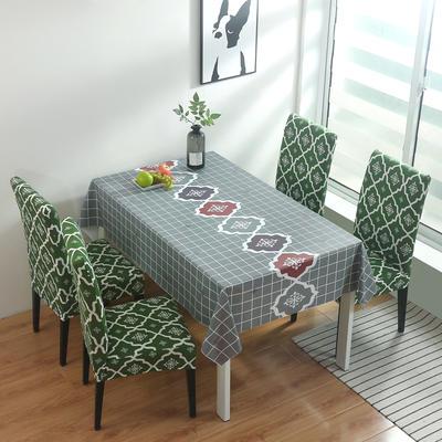 2020新款PwC防水桌布+ 印花椅套 130*130cm防水桌布 英伦绿