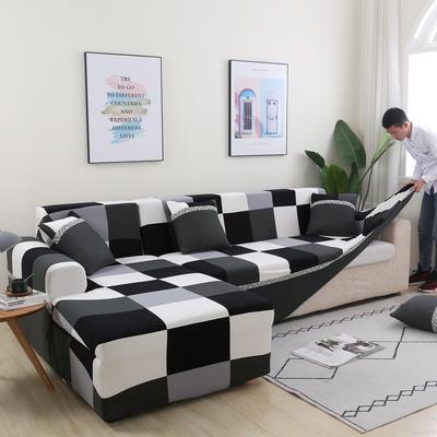 2020新款四季款印花沙发套 单人尺寸90-140cm 黑白配