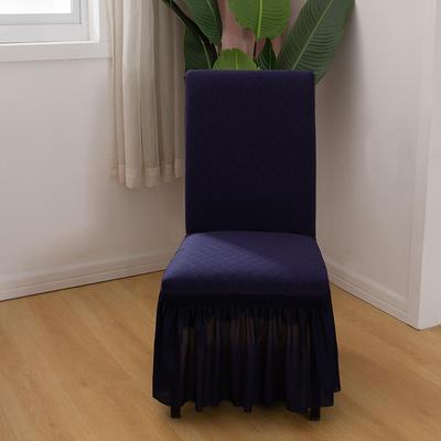2020新款纯色 针织提花方格弹力椅套 宝蓝色