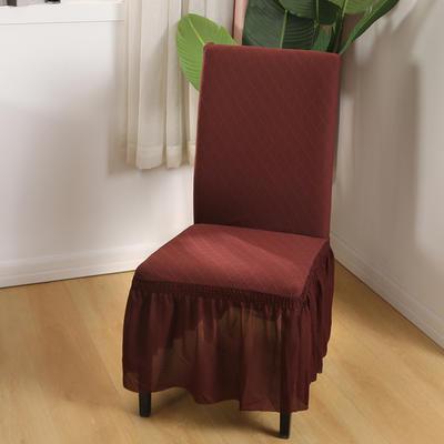 2020新款纯色 针织提花方格弹力椅套 咖啡色