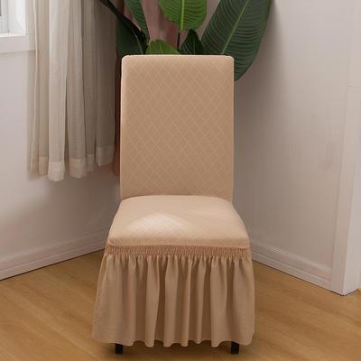 2020新款纯色 针织提花方格弹力椅套 米黄色