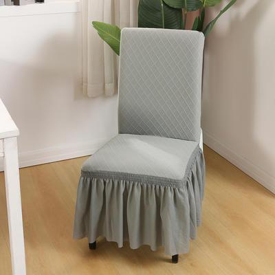 2020新款纯色 针织提花方格弹力椅套 浅灰色
