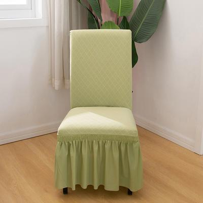 2020新款纯色 针织提花方格弹力椅套 浅绿色