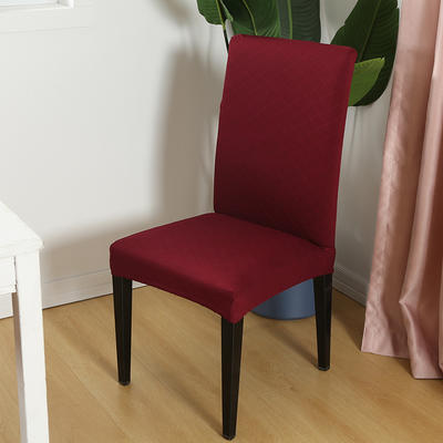 2020新款色织提花方格椅套 酒红色
