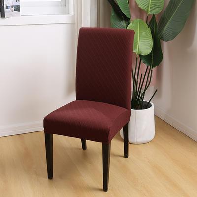 2020新款色织提花方格椅套 咖啡色