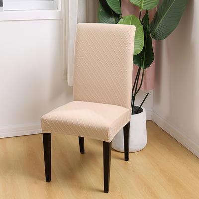 2020新款色织提花方格椅套 米黄色