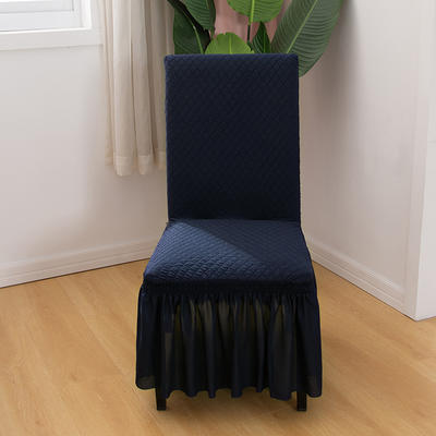 2020新款针织面料方格纯色椅套 宝蓝色
