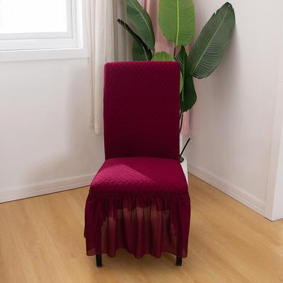 2020新款针织面料方格纯色椅套 酒红色