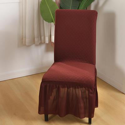 2020新款针织面料方格纯色椅套 咖啡色