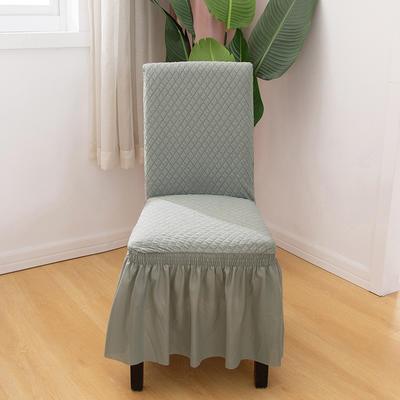 2020新款针织面料方格纯色椅套 浅灰色