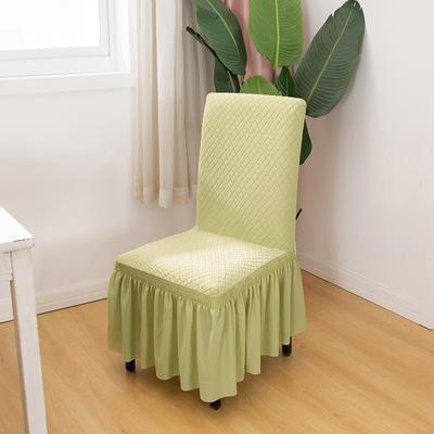 2020新款针织面料方格纯色椅套 浅绿色