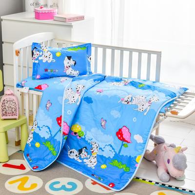 2020新款厂家直销 幼儿园专用空调被套件  儿童卡通全棉床上用品 三件套 一件代发 夏被110*150床垫60*120丝绵 斑点狗