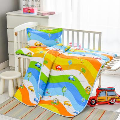 2021新款厂家直销 幼儿园专用空调被套件  儿童卡通全棉床上用品 三件套 一件代发 夏被110*150床垫60*135丝绵 宝宝车手