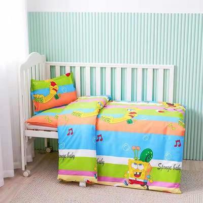 2021年新款13070面料幼儿园三件套 全棉儿童卡通被子六件套 床上用品 组合一【不含芯三件套】1.35 海绵宝宝