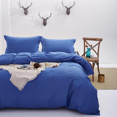 秘语家居 60S贡缎长绒棉纯色刺绣四件套系列13色 1.5m(5英尺)床 宝蓝色