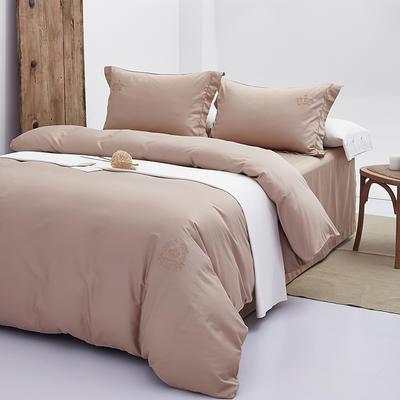秘语家居 60S贡缎长绒棉纯色刺绣四件套系列13色 1.5m(5英尺)床 卡其色