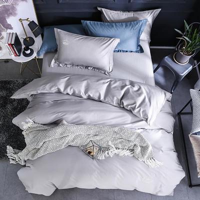 秘语家居 60S贡缎长绒棉纯色刺绣四件套系列13色 1.8m(6英尺)床 银灰色