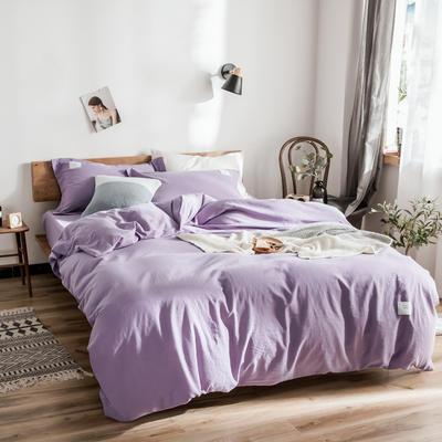 2019新款60水洗纯色四件套 1.8m(6英尺)床单款 浅紫