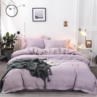 2019新款肌理纹绣花加厚双面磨毛四件套 1.8m(6英尺)床 紫豆沙