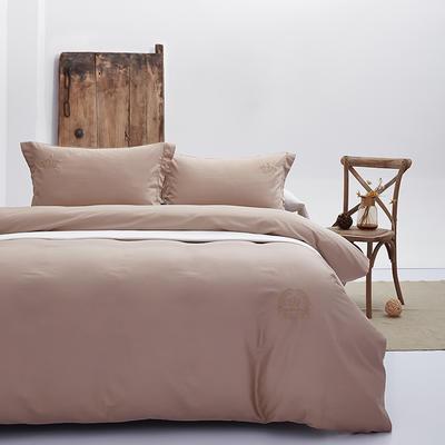 2019新款假日系列60S纯色绣花长绒棉四件套 1.8m(6英尺)床单款 卡其