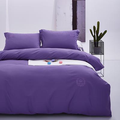 2019新款假日系列60S纯色绣花长绒棉四件套 1.8m(6英尺)床单款 紫色