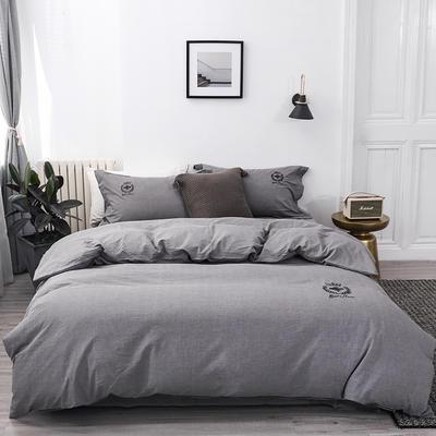 2019新款李现同款纯色绣花水洗棉四件套 1.8m(6英尺)床 银石灰
