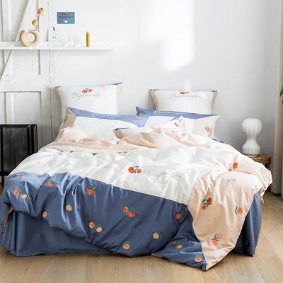 2020新款60s长绒棉四件套 1.8m床单款四件套 蜜桃-白