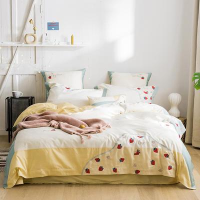 2020新款60s长绒棉四件套 1.8m床单款四件套 小草莓