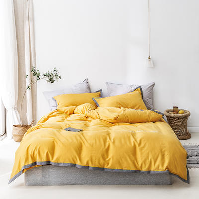 2020新款全棉四件套-醒来系列 1.2m床笠款四件套 醒来-藤黄