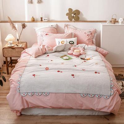 2020新款-水洗棉四件套 1.5m床单款四件套 花朵草莓