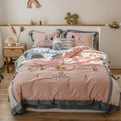 2020新款-水洗棉四件套 1.5m床单款四件套 玉兔