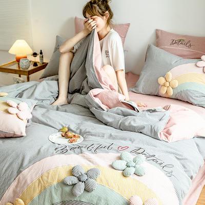 2020新款-全棉32s色织水洗棉刺绣四件套 1.5m床单款四件套 彩虹花