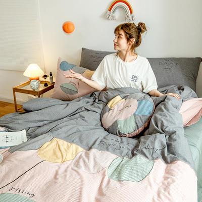 2020新款-全棉32s色织水洗棉刺绣四件套 1.5m床单款四件套 多色瓣儿