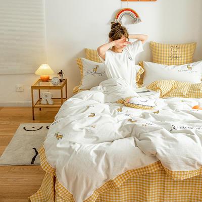 2020新款-全棉32s色织水洗棉刺绣四件套 1.5m床单款四件套 可爱鹿