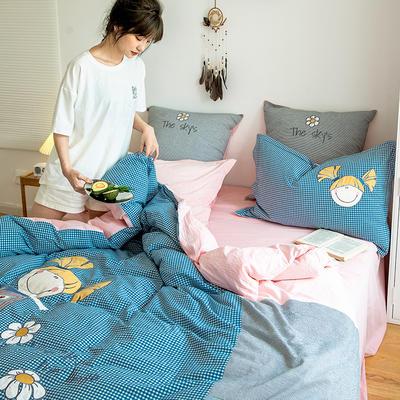 2020新款-全棉32s色织水洗棉刺绣四件套 1.5m床单款四件套 那个女孩