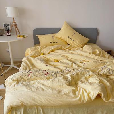 2020新款水洗棉四件套-小时光系列 1.5m床单款四件套 遇见-黄